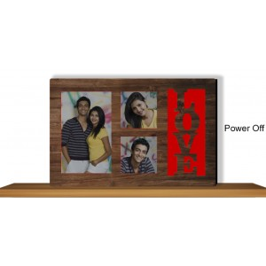 Personalized red LOVE glow in dark LED frame backview