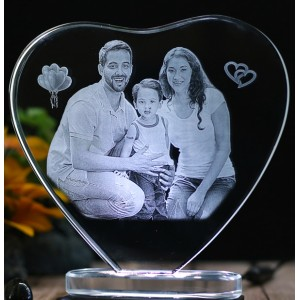 Heart shaped crystal with engraved photo inside -150x150x12 (mm) with Slim White Light Base backview