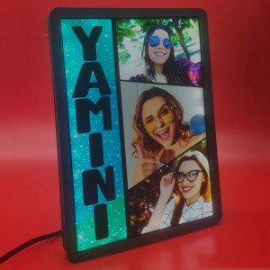 Personalized 3 Photo Name Collage glow in dark LED frame  backview