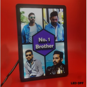 Personalized 4 Photo No. 1 Brother Collage glow in dark LED frame  backview