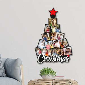 Wooden Christmas tree 15 photo wall hanging collage WC - 013 backview