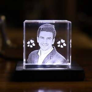 Rectangular shaped Small crystal with engraved photo inside - 40 X 40 X 40 (mm) with Slim White Light Base backview