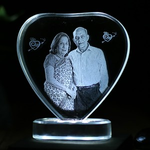 Heart shaped crystal with engraved photo inside -80x80x12 (mm) with Slim White Light Base backview