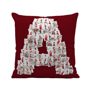 Personalized Mosaic Cushion Alphabet-A (16X16) Satin Fabric backview