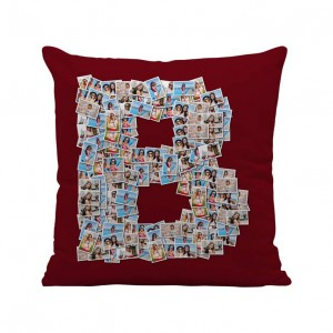 Personalized Mosaic Cushion Alphabet-B (16X16) Satin Fabric backview