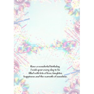 Personalized Birthday Greeting Card 008 backview
