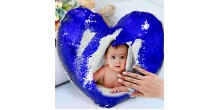 Personalized heart shaped Sequin Cushion Magic Reveal Photo Blue Heart Sequin