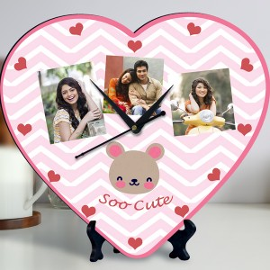 Soo Cute Personalized Heart Shaped Clock backview