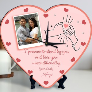 Promise Quote Personalized Heart Shaped Clock backview