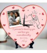 Promise Quote Personalized Heart Shaped Clock