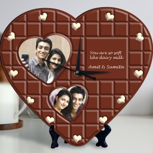 chocolate design Personalized Heart Shaped Clock backview