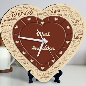 chocolate heart design Personalized Clock backview