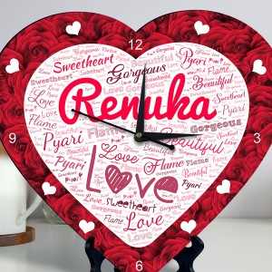 Personalized Heart Shape Clock with Red Rose Design Name Art backview