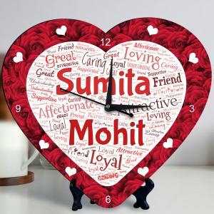 Personalized Heart Shape Clock with Red Rose Design Couple Name Art backview