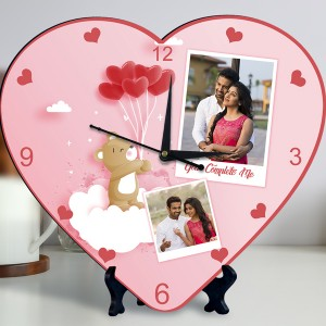 You Complete Me Personalized Heart Shaped Clock backview
