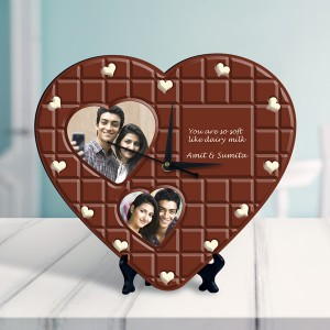 chocolate design Personalized Heart Shaped Clock