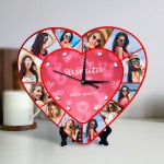 Personalized Heart Shape Clock with photo collage selfie queen