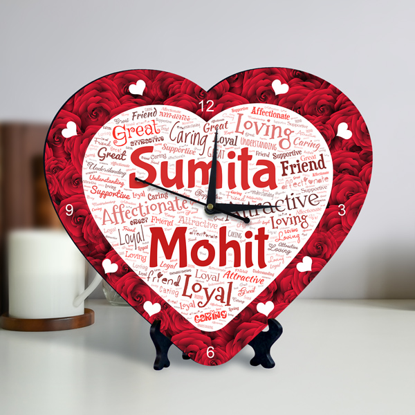 Buy Or Send Personalized Heart Shape Clock With Red Rose Design Couple Name Art Online Regalocasila