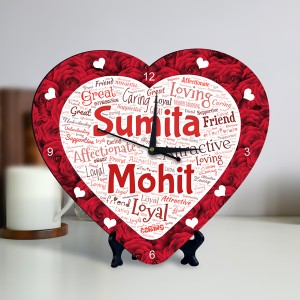 Personalized Heart Shape Clock with Red Rose Design Couple Name Art