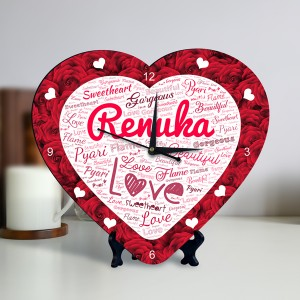 Personalized Heart Shape Clock with Red Rose Design Name Art