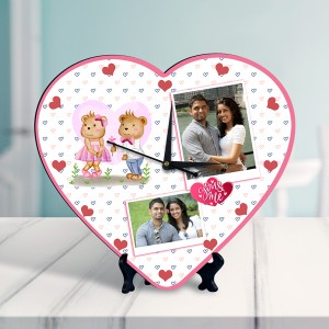 You & me Personalized Heart Shaped Clock
