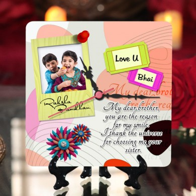 Personalized Raksha bandhan Table Top Clock design 03