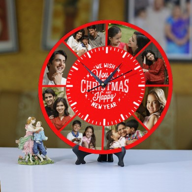 Personalized Christmas dial round wall clock Size 11.5x11.5 Inch