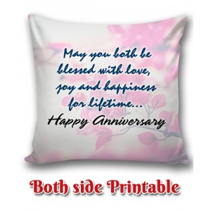 Personalized Anniversary Cushion one side photo back side message gift 01 backview