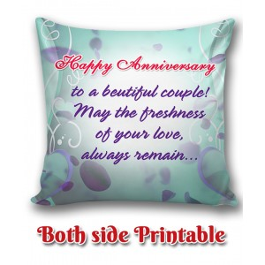 Personalized Anniversary Cushion one side photo back side message gift 02 backview