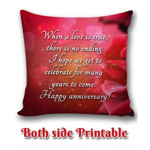 Personalized Anniversary Cushion one side photo back side message gift 04 backview