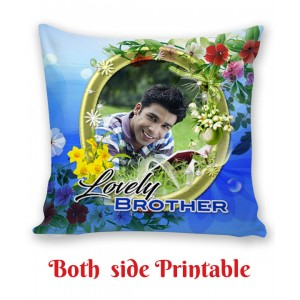 Personalized Cushion both side photo print brother sister gift 03 backview