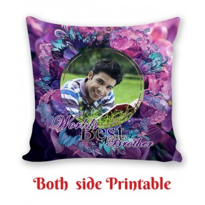Personalized Cushion both side photo print brother sister gift 06 backview