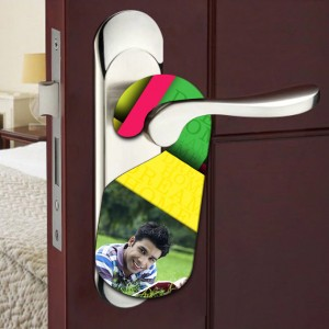 Personalized DREAM HOME room door knob hanger backview