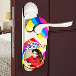 Personalized Nayan's room door knob hanger backview