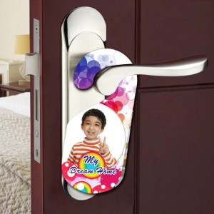 Personalized MY DREAM HOME room door knob hanger backview