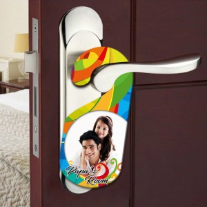 Personalized Papa's room door knob hanger backview