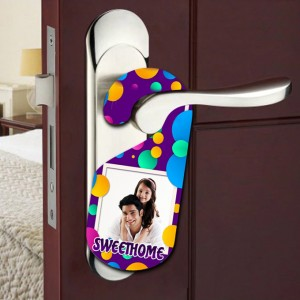 Personalized Sweet Home Blue design door knob hanger backview