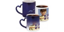 Your Design Magic Mug - Blue Heart Handle
