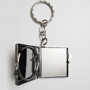 Double sided diamond shaped personalized Metal Key Ring with mirror backview