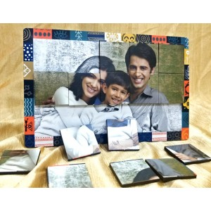 Personalized Rectangular Magnetic Puzzle Photo Frame 2 way display backview