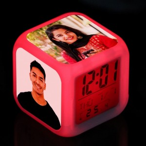 Personalized cube LED GLOW color changing digital alarm clock backview