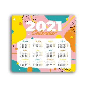 2021 Calendar printed on Anti-Skid Mouse Pad