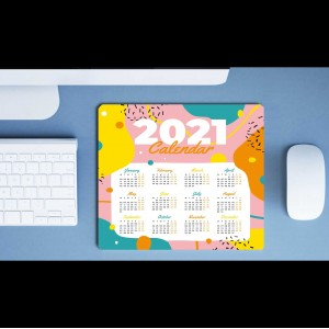 2021 Calendar printed on Anti-Skid Mouse Pad  backview