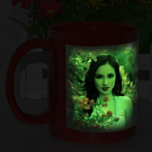 Red radium glow in dark personalized photo mug backview