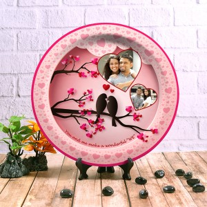 decor wall plate with table stand Design Love Birds