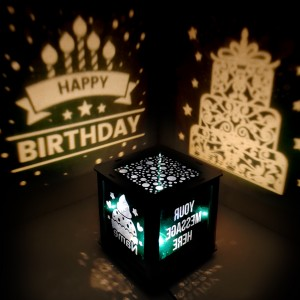 Happy Birthday Cake design Wooden Shadowbox 03