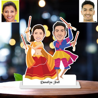 Personalized Playing Dandiya toon Couple Caricature Photo Stand In