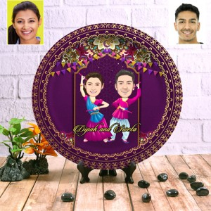 Playing Dandiya Special decor wall plate with table stand backview