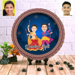 Dandiya special decor wall plate with table stand backview