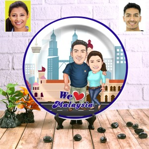 Malaysia Couple decor wall plate with table stand backview